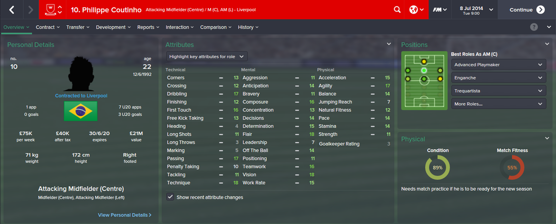 Philippe Coutinho, FM15, FM 2015, Football Manager 2015, 1st Season Screenshot