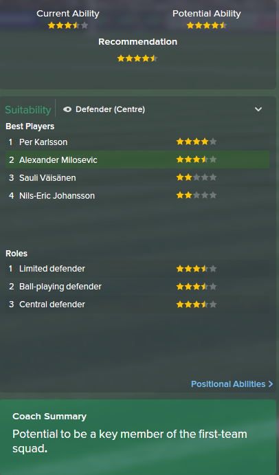 Alexander Milosevic, FM15, FM 2015, Football Manager 2015, Scout Report, Current & Potential Ability
