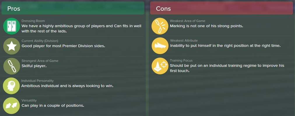 Emre Can, FM15, FM 2015, Football Manager 2015, Scout Report, Pros & Cons