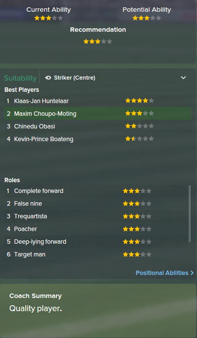 Maxim Choupo-Moting, FM15, FM 2015, Football Manager 2015, Scout Report, Current & Potential Ability