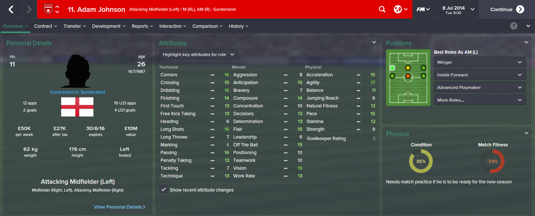 Adam Johnson, FM15, FM 2015, Football Manager 2015, 1st Season Screenshot