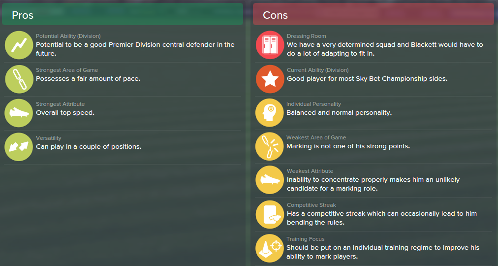 Tyler Blackett, FM15, FM 2015, Football Manager 2015, Scout Report, Pros & Cons