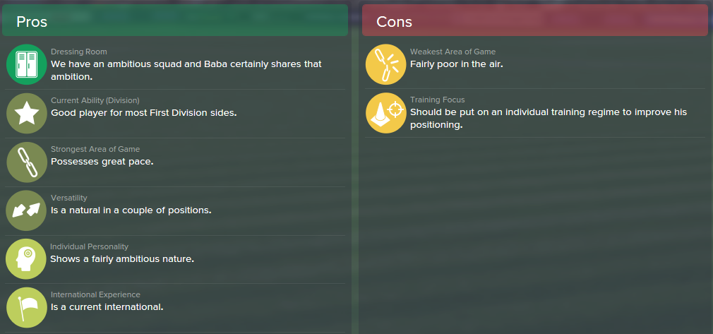Abdul Baba, FM15, FM 2015, Football Manager 2015, Scout Report, Pros & Cons