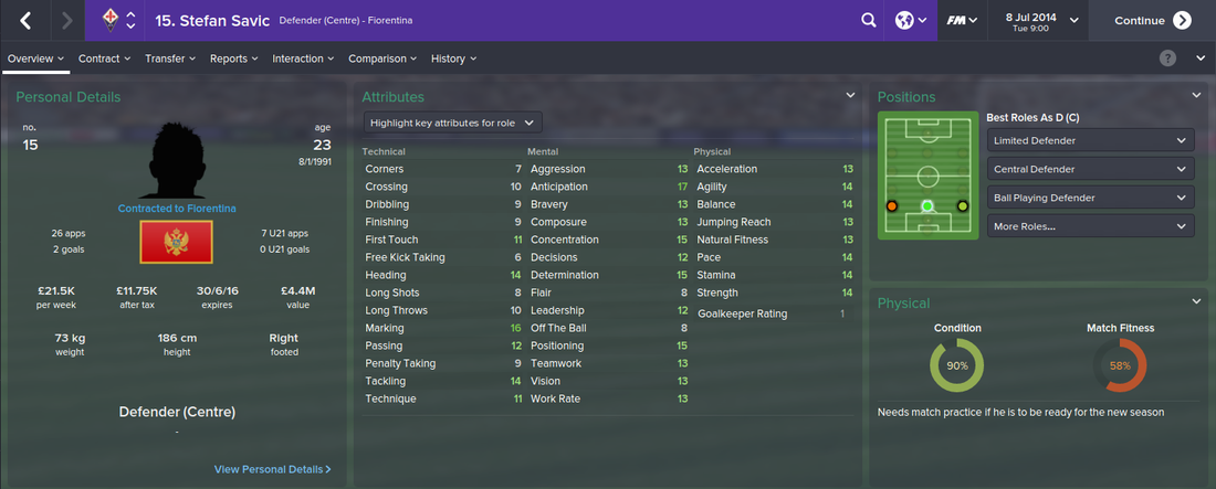Stefan Savic, FM15, FM 2015, Football Manager 2015, 1st Season Screenshot
