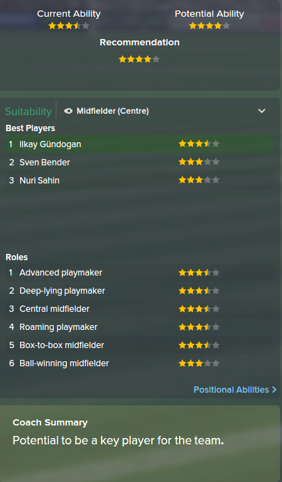 Ilkay Gundogan, FM15, FM 2015, Football Manager 2015, Scout Report, Current & Potential Ability