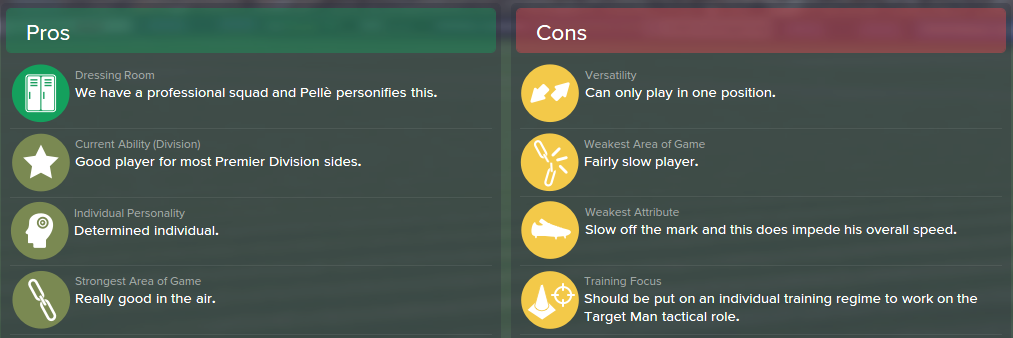 Graziano Pelle, FM15, FM 2015, Football Manager 2015, Scout Report, Pros & Cons