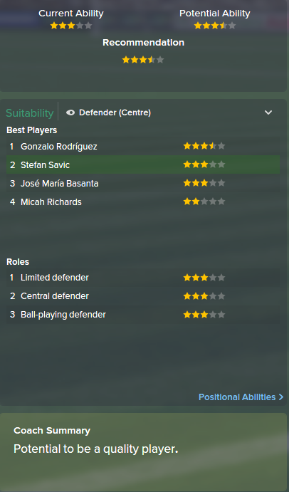 Stefan Savic, FM15, FM 2015, Football Manager 2015, Scout Report, Current & Potential Ability