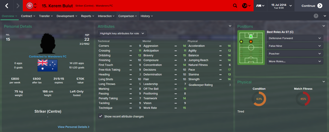Kerem Bulut, FM15, FM 2015, Football Manager 2015, 1st Season Screenshot