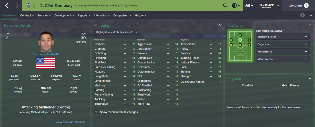 Clint Dempsey, FM15, FM 2015, Football Manager 2015, 1st Season Screenshot