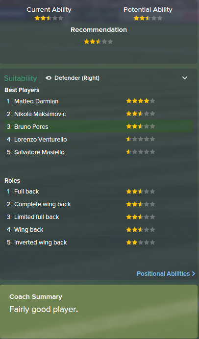 Bruno Peres, FM15, FM 2015, Football Manager 2015, Scout Report, Current & Potential Ability