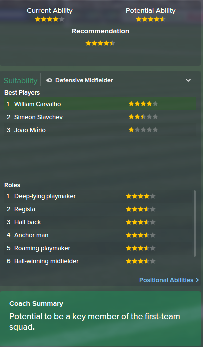 William Carvalho, FM15, FM 2015, Football Manager 2015, Scout Report, Current & Potential Ability