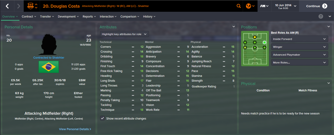 Douglas Costa, FM15, FM 2015, Football Manager 2015, 1st Season Screenshot