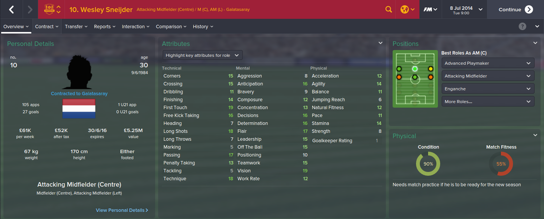 Wesley Sneijder, FM15, FM 2015, Football Manager 2015, 1st Season Screenshot