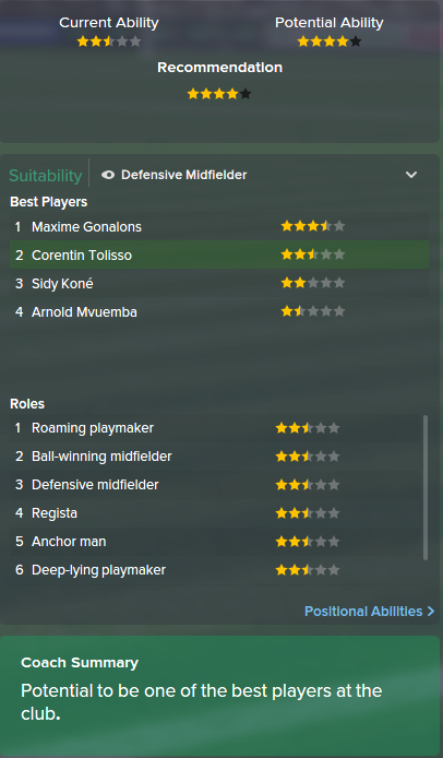 Corentin Tolisso, FM15, FM 2015, Football Manager 2015, Scout Report, Current & Potential Ability