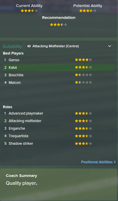 Kaka, FM15, FM 2015, Football Manager 2015, Scout Report, Current & Potential Ability