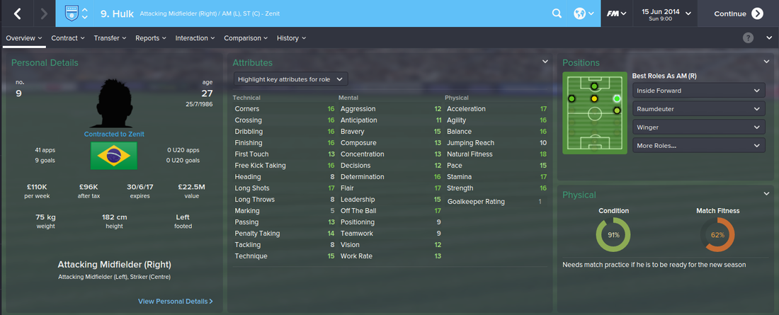 Hulk, Football Manager 2015, FM15, FM 2015, 1st Season Screenshot
