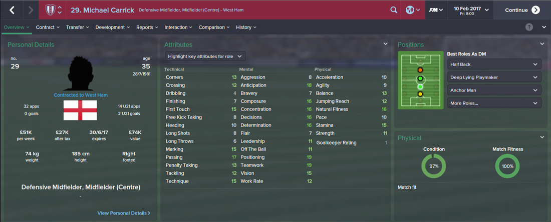 Michael Carrick, Football Manager 2015, FM15, FM 2015, 3rd Season Screenshot