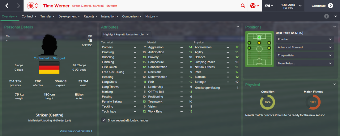 Timo Werner, FM15, FM 2015, Football Manager 2015, 1st Season Screenshot