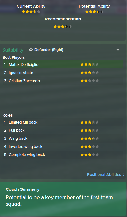 Mattia De Sciglio, FM15, FM 2015, Football Manager 2015, Scout Report, Current & Potential Ability