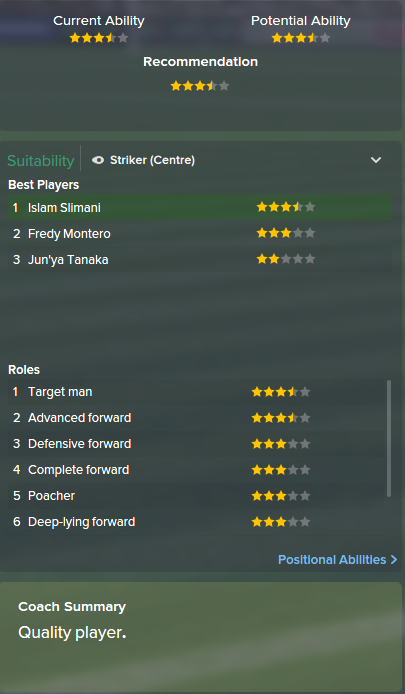 Islam Slimani, FM15, FM 2015, Football Manager 2015, Scout Report, Current & Potential Ability