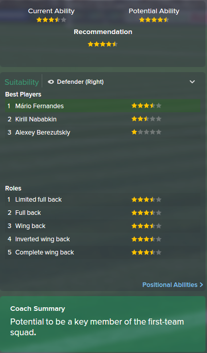 Mario Fernandes, FM15, FM 2015, Football Manager 2015, Scout Report, Current & Potential Ability