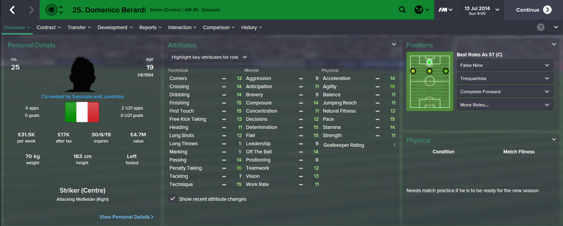 Domenico Berardi, FM15, FM 2015, Football Manager 2015, 1st Season Screenshot