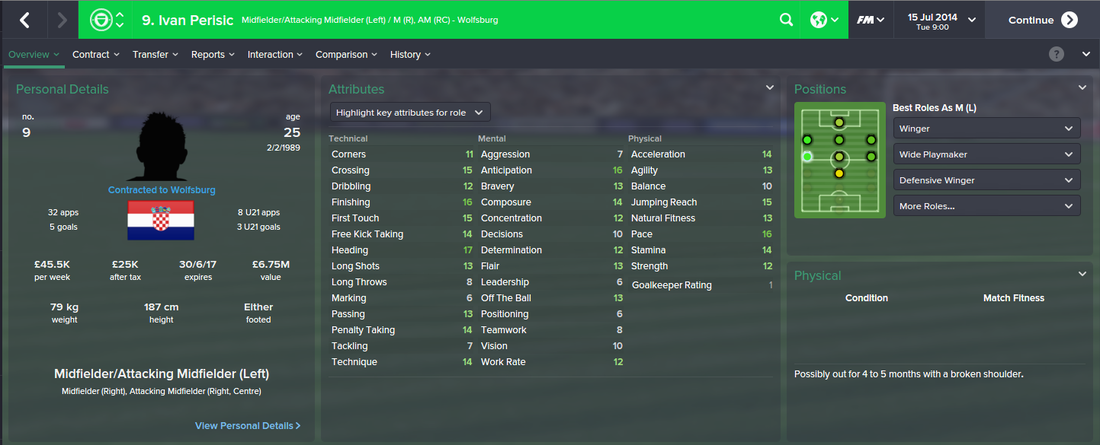 Ivan Perisic, FM15, FM 2015, Football Manager 2015, 1st Season Screenshot