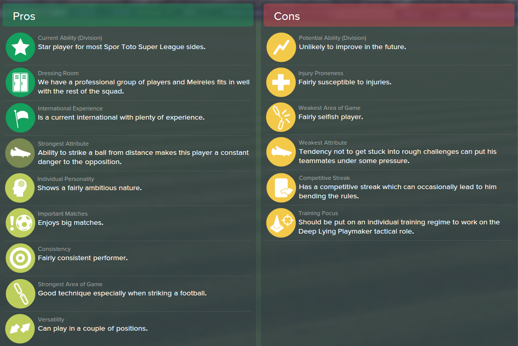Raul Meireles, FM15, FM 2015, Football Manager 2015, Scout Report, Pros & Cons
