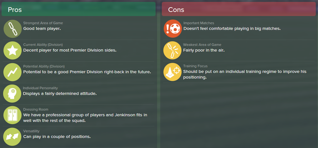 Carl Jenkinson, FM15, FM 2015, Football Manager 2015, Scout Report, Pros & Cons