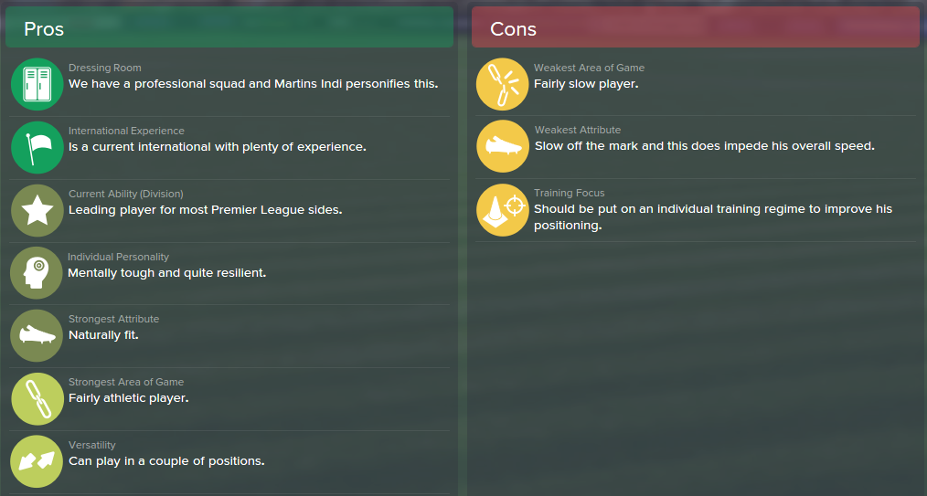 Bruno Martins Indi, FM15, FM 2015, Football Manager 2015, Scout Report, Pros & Cons