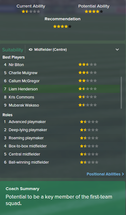Liam Henderson, FM15, FM 2015, Football Manager 2015, Scout Report, Current & Potential Ability