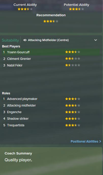 Yoann Gourcuff, FM15, FM 2015, Football Manager 2015, Scout Report, Current & Potential Ability