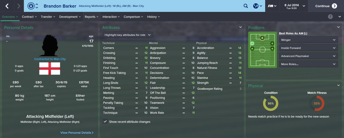 Brandon Barker, FM15, FM 2015, Football Manager 2015, 1st Season Screenshot