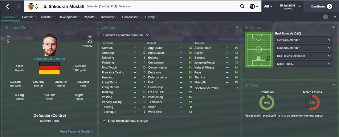 Shkodran Mustafi, FM15, FM 2015, Football Manager 2015, 1st Season Screenshot