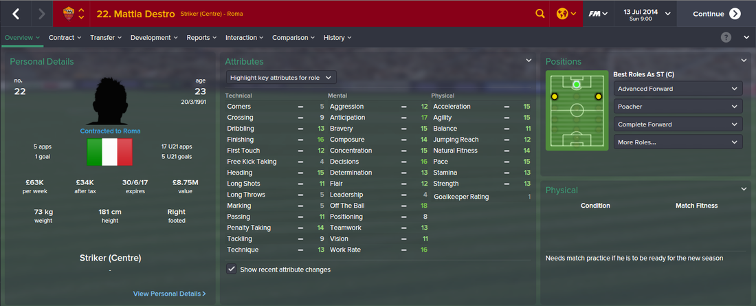 Mattia Destro, FM15, FM 2015, Football Manager 2015, 1st Season Screenshot