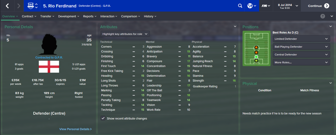 Rio Ferdinand, FM15, FM 2015, Football Manager 2015, 1st Season Screenshot