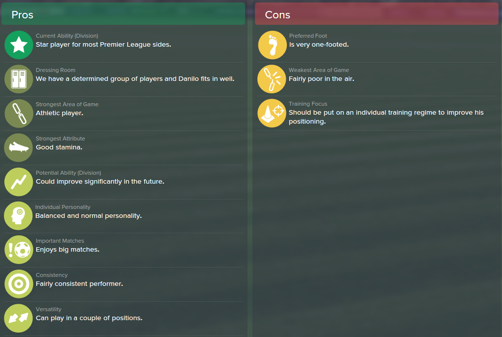 Danilo, FM15, FM 2015, Football Manager 2015, Scout Report, Pros & Cons
