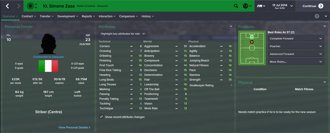 Simone Zaza, FM15, FM 2015, Football Manager 2015, 1st Season Screenshot