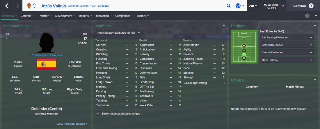 Jesus Vallejo, FM15, FM 2015, Football Manager 2015, 1st Season Screenshot