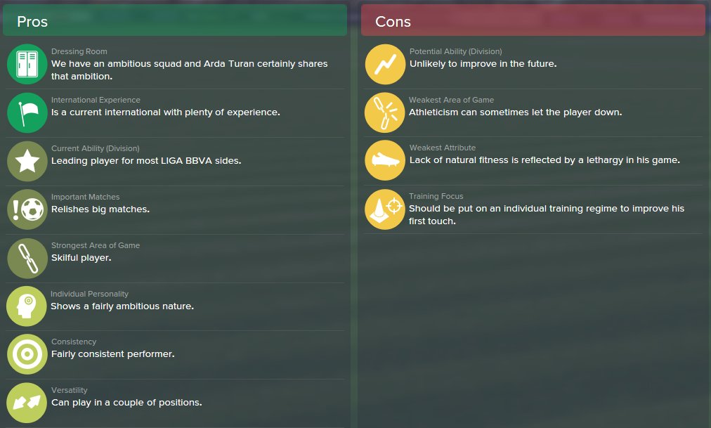 Arda Turan, FM15, FM 2015, Football Manager 2015, Scout Report, Pros & Cons
