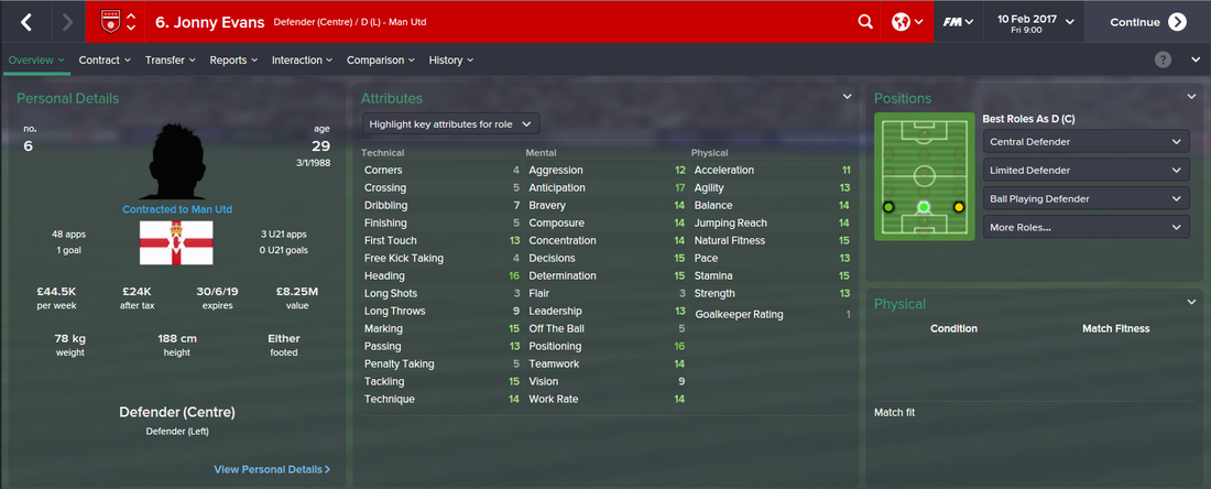 Jonny Evans, Football Manager 2015, FM15, FM 2015, 3rd Season Screenshot