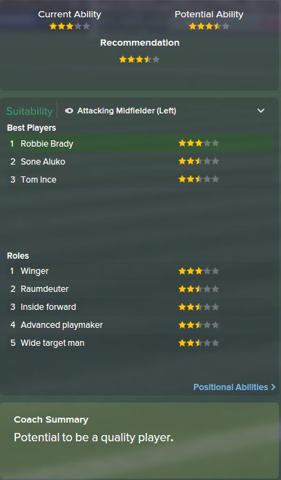 Robbie Brady, FM15, FM 2015, Football Manager 2015, Scout Report, Current & Potential Ability