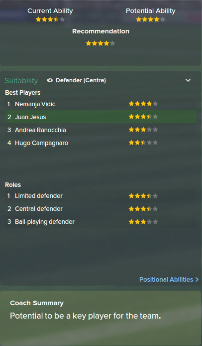 Juan Jesus, FM15, FM 2015, Football Manager 2015, Scout Report, Current & Potential Ability