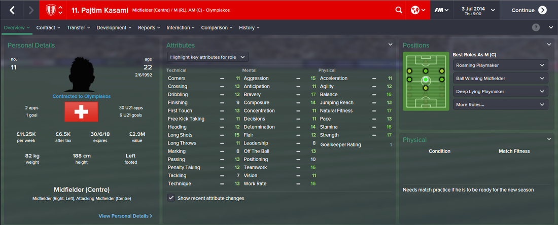 Pajtim Kasami, FM15, FM 2015, Football Manager 2015, 1st Season Screenshot