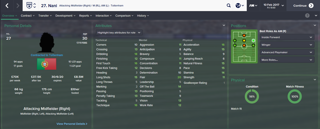 Nani, Football Manager 2015, FM15, FM 2015, 3rd Season Screenshot