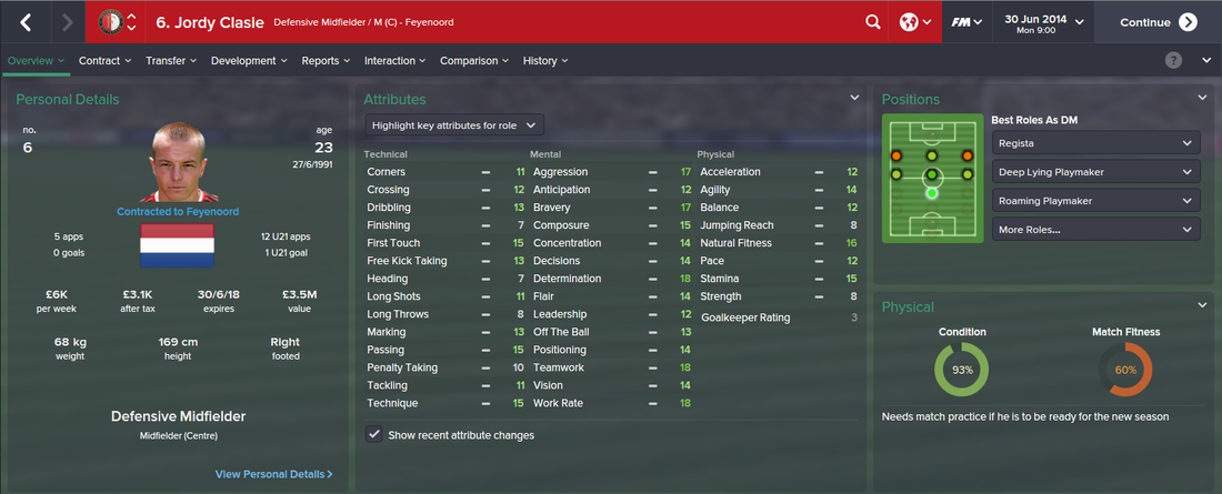 Jordy Clasie, FM15, FM 2015, Football Manager 2015, 1st Season Screenshot