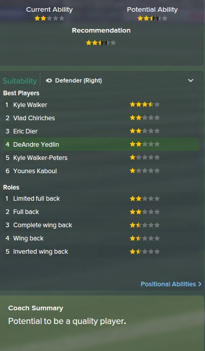 DeAndre Yedlin, FM15, FM 2015, Football Manager 2015, Scout Report, Current & Potential Ability