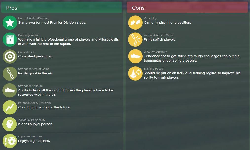 Alexander Milosevic, FM15, FM 2015, Football Manager 2015, Scout Report, Pros & Cons