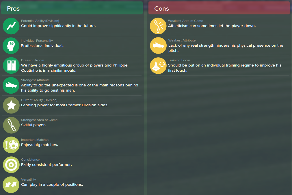 Philippe Coutinho, FM15, FM 2015, Football Manager 2015, Scout Report, Pros & Cons