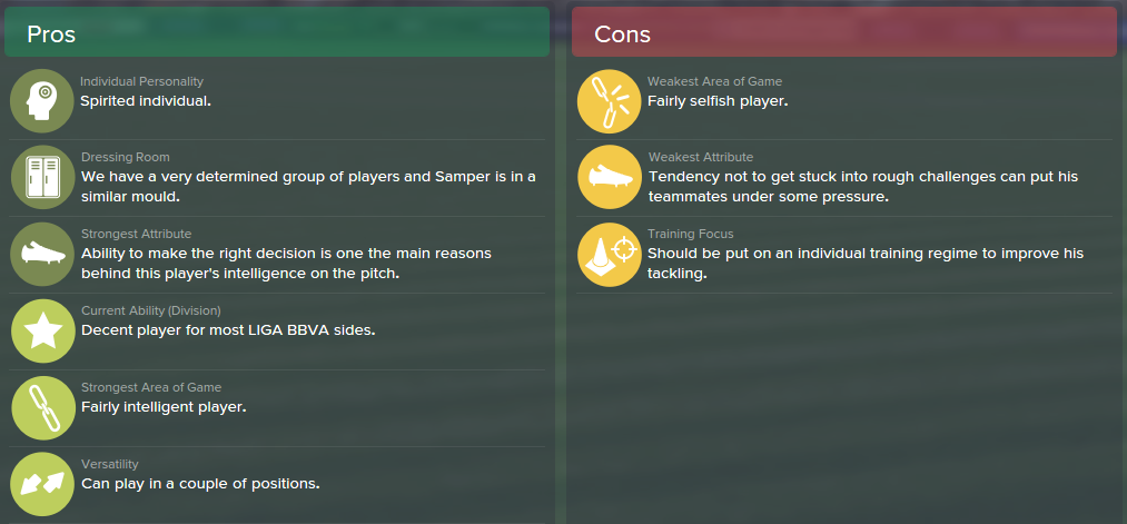 Sergi Samper, FM15, FM 2015, Football Manager 2015, Scout Report, Pros & Cons